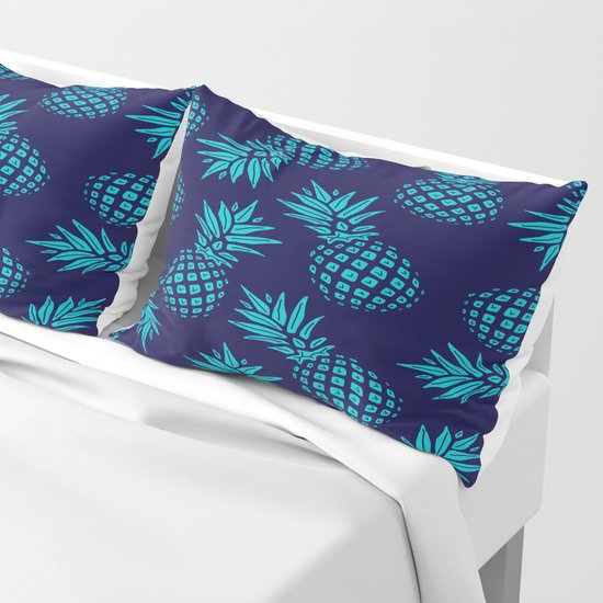 Pineapple Pattern - Teal on Navy by staynauti