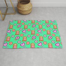 Funny happy little baby sloths, pink hearts. Sweet vintage retro lollipops. Cute green pattern. Rug