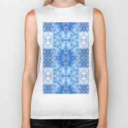 212 - Blue Sky and clouds abstract pattern Biker Tank