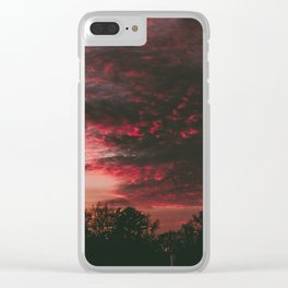 Deep Red Clouds Clear iPhone Case