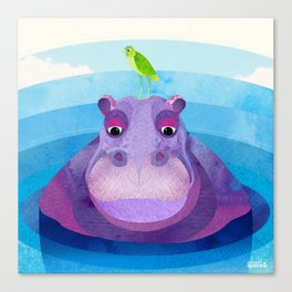 Betty & Ralph the Hippo and Bird Canvas Print