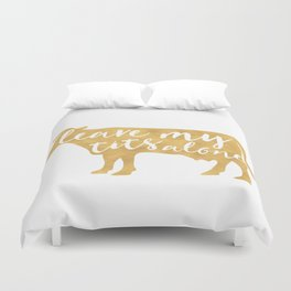 LEAVE MY TITS ALONE vegan cow quote Duvet Cover