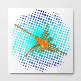 Distressed Nazca Lines Hummingbird On Gradient Blue Galaxy Metal Print