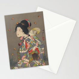 Japanese Art Print - Woman and Fireflies Stationery Cards