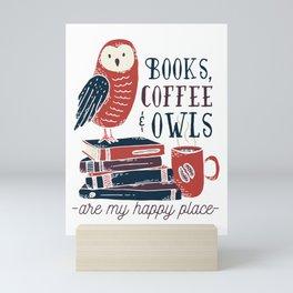 Books, Coffee and Owls Mini Art Print
