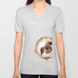 Sneaky Baby Sloth Unisex V-Neck