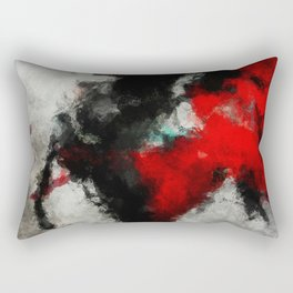 Black and Red Abstract Art Rectangular Pillow