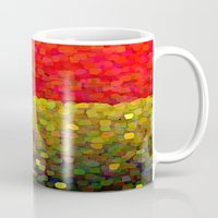 gold glitter Mugs featuring Sparkle Glitter Red Gold by Saundra Myles