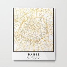 PARIS FRANCE CITY STREET MAP ART Metal Print
