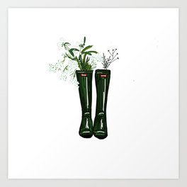 Green boots with white flowers bouqet Art Print