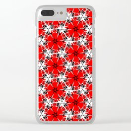 Red poppies floral geometric spring pattern Clear iPhone Case