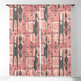 Retro Atomic Mid Century Pattern 771 Red Sheer Curtain
