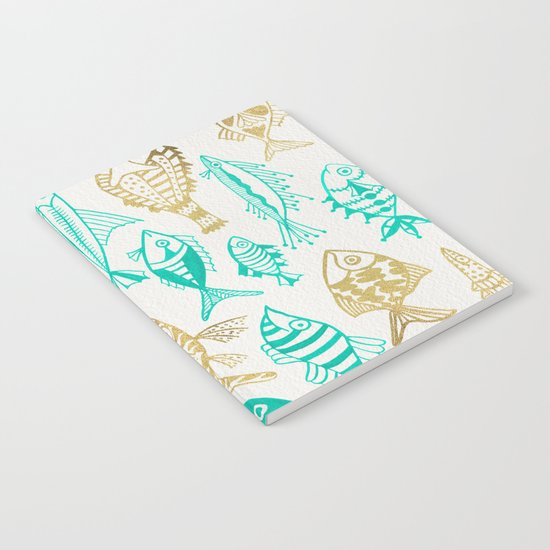 Inked Fish – Turquoise & Gold Notebook