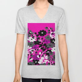 SUNFLOWER TOILE PINK BLACK GRAY WHITE PATTERN Unisex V-Neck