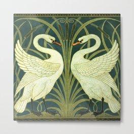 """Walter Crane """"Swan and Rush and Iris wallpaper"""" (original) Metal Print"""