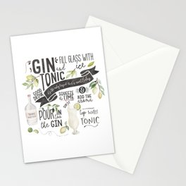 Gin Tonic Recipe In Watercolor Stationery Cards