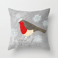robin Throw Pillows featuring Robin by Nic Squirrell