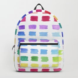 Watercolor paint palette swatches sample or color chart in rainbow hues Backpack