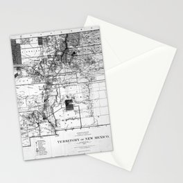 Vintage Map of New Mexico (1882) BW Stationery Cards