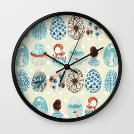 Easter eggs blue colletion Wall Clock