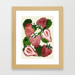 strawberry watercolor Framed Art Print