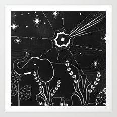 Elephant and comet Art Print