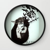 bats Wall Clocks featuring Bats by Nuria Mrtz. FotoArt