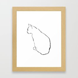 Cat Line Drawing Framed Art Print