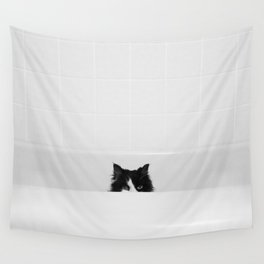 Water Please - Black and White Cat in Bathtub Wall Tapestry