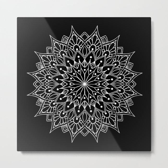Black And White Mandala Tattoo Metal Print