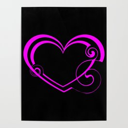 Double black black heart made of pink lines and curls in vintage style. Poster