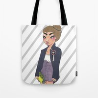 bee and puppycat Tote Bags featuring Bee by Kimberly Palmer