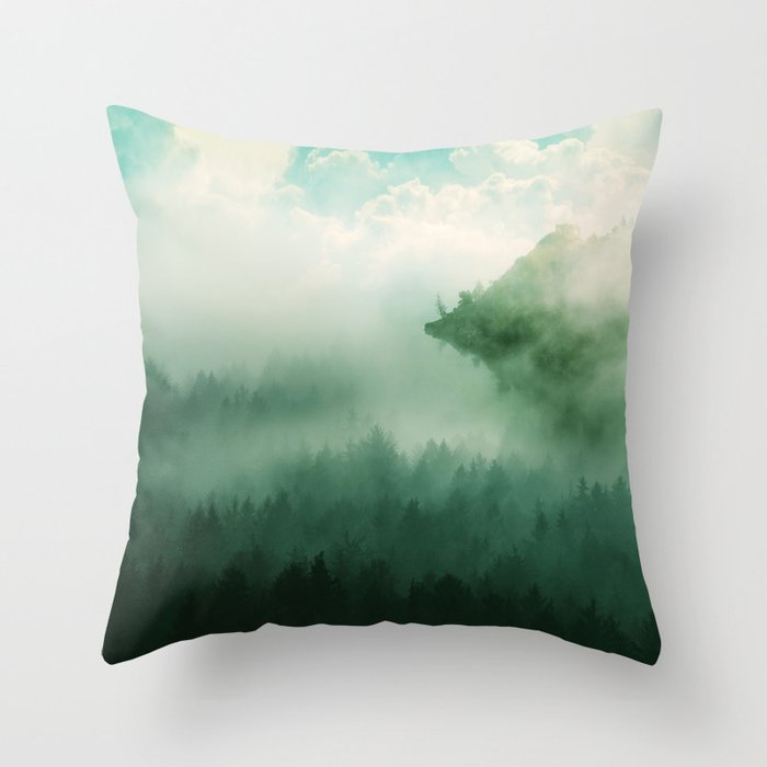Mystical Forests Forest Tapestry Atmospheric Tapestry Foggy Forest Relaxing Forest Green Throw Pillow By Therocketman Society6