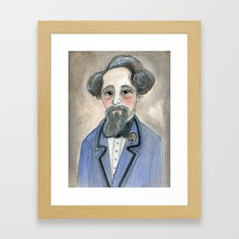 Charles Dickens in Blue, Victorian Literary Portrait Framed Art Print