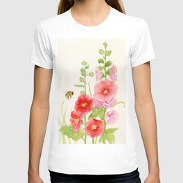 Watercolor Flower Pink Hollyhock and Bee T-shirt