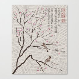 Chinese Painting -Spring Plum Blossom (sheetmusic background) Canvas Print