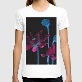 Dark Magenta and Solar Blue Mosaic Floral T-shirt