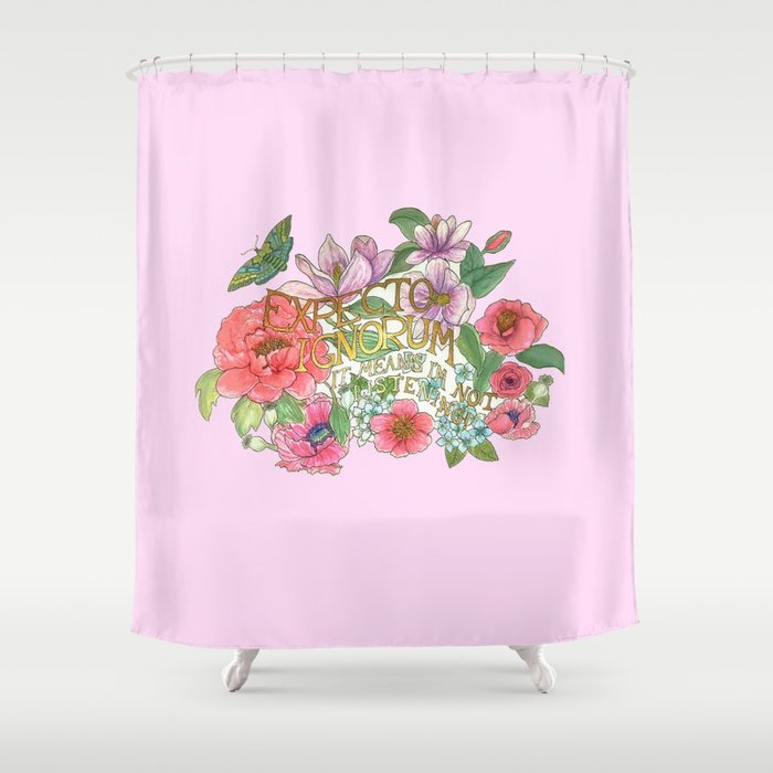 Spring Flowers And Butterfly With Quote In Latin Shower Curtain