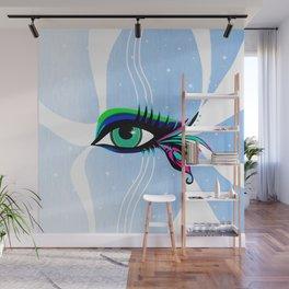 Rainbow Peacock Feather Eyelashes Eye Wall Mural