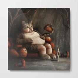 03 Dreamy Bunny and the Big Fat Cat Metal Print