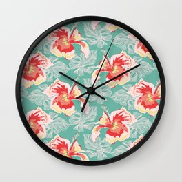 Hawaiian Flowers Wall Clock
