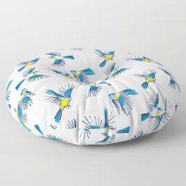 Flying Blue Tit / Bird Pattern Floor Pillow