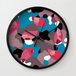 Red Leaves Camo Wall Clock