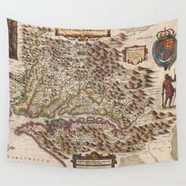 Vintage Map of Virginia (1630) Wall Tapestry