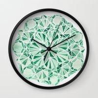 malachite Wall Clocks featuring Malachite by Strange Charm