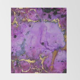 Purple Ink Gold Glitter Marble Throw Blanket