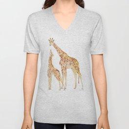 Mother and Baby Giraffes Unisex V-Neck