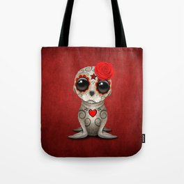 Red Day of the Dead Sugar Skull Sea Lion Baby Tote Bag