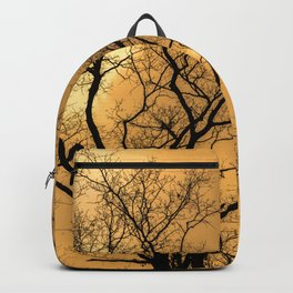 Orange sky, naked trees, haunting forest Backpack