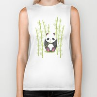 panda Biker Tanks featuring Panda  by eDrawings38
